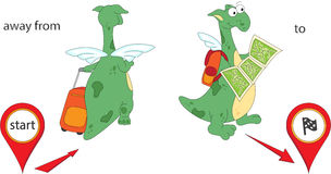 Cartoon dragon goes away from the start and then to the finish. Royalty Free Stock Images