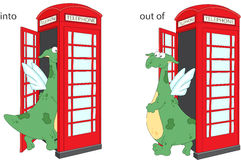 Cartoon dragon goes into and out of telephone box. English gramm Stock Photos