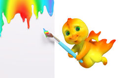 Cartoon dragon holding painting with brush and poster isolated, Stock Photos