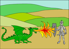 Cartoon dragon & knight. Cartoon knight fighting a dragon breathing fire Stock Image