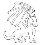 Cartoon dragon line-art Stock Photography