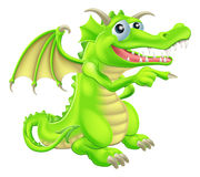Cartoon Dragon Mascot Pointing Royalty Free Stock Image