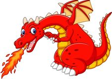 Cartoon dragon posing with fire. Illustration of Cartoon dragon posing with fire stock illustration