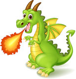 Cartoon dragon posing with fire Stock Photo