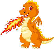 Cartoon dragon posing with fire. Illustration of  Cartoon dragon posing with fire Royalty Free Stock Images