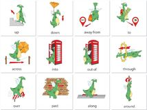 Cartoon dragon prepositions of movement. English grammar in pict