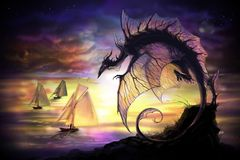 Cartoon dragon and sailing vessel in another world. For navigation. fantasy dragon with stars and planets on a background vector illustration