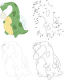 Cartoon dragon with a sick stomach. Dot to dot game for kids Royalty Free Stock Photography