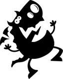 Cartoon Dragon Silhouette Jumping Royalty Free Stock Photo