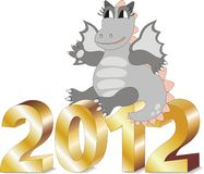 Cartoon dragon sitting on gold letters 2012. In vector Royalty Free Stock Photography