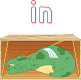 Cartoon dragon sleeps in a box. English grammar in pictures Royalty Free Stock Photos