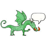 cartoon dragon with speech bubble Royalty Free Stock Images