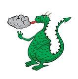 Cartoon dragon, spewing fire and smoke. Green cartoon dragon, spewing fire and smoke Stock Photos