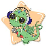 Cartoon Dragon with sun glasses, headphones and microphone royalty free stock photography