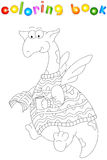Cartoon dragon in a sweater reads a book. Coloring book for kids Stock Images
