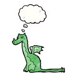 cartoon dragon with thought bubble Stock Image