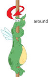 Cartoon Dragon Twists Around The Pole. English Grammar In Pictur