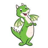 Cartoon Dragon. Cartoon vector illustration of a green dragon for design element Stock Photo