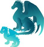 Cartoon dragons family Royalty Free Stock Image