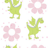 Cartoon dragons in flowers. Childish bright floral pattern in vector Royalty Free Stock Photography