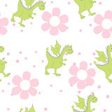 Cartoon dragons in flowers. Childish bright floral pattern in vector Royalty Free Stock Photo