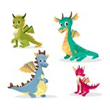 Cartoon dragons illustration of funny fairy magic smiling monster and happy cute creatures vector illustration