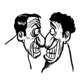 Cartoon drawing of 2 men Stock Images