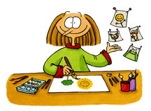 Cartoon drawing of an artist. Funny cartoon of a girl doing doodles / painting. This artwork was done manually with ink and markers on illustration board Stock Photo
