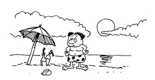 Cartoon drawing character at the beach. A grunge cartoon of a puzzled looking man at the beach Royalty Free Stock Photography