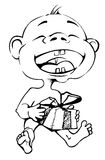 Cartoon drawing of a child who laughs Stock Image