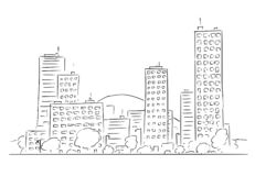 Cartoon Drawing of Cityscape from Modern City Buildings stock photography