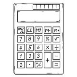 Cartoon of Electronic Calculator With Empty Display. Cartoon drawing conceptual illustration of electronic calculator with empty or blank display vector illustration