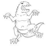 Cartoon of Monster Tyrannosaur or Dinosaur Godzilla Like Creature Stock Photography
