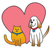 Dog and Cat With Heart Stock Image