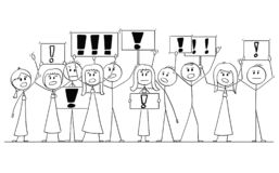 Cartoon Drawing of Group of People Protesting With Exclamation Mark on Signs. Cartoon stick figure isolated drawing or illustration of group or crowd of vector illustration