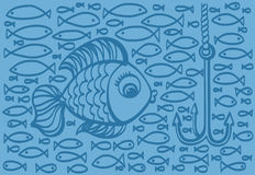 Cartoon drawing illustration of big fish with small fishes backg Stock Photos