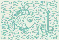 Cartoon drawing illustration of big fish with small fishes  Royalty Free Stock Photo