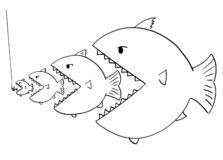 Cartoon Drawing of Line of Bigger Fish Eating Smaller Fish stock illustration
