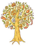Cartoon drawing of lots of ready-made food growing on tree Stock Image
