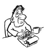 Cartoon drawing of a man with a typewriter. A grunge cartoon of a stupid looking man with a typewriter and a cup of coffee Royalty Free Stock Images