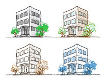 Cartoon Drawing Outline Vector Buildings Doodle Stock Image