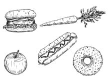 Cartoon Drawing of Set of Vegetable, Fruit and Desserts royalty free stock images