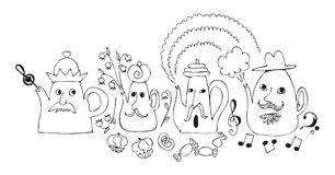 Cartoon drawing of talking teapots. Royalty Free Stock Photography