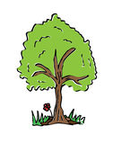 Cartoon drawing tree with color Stock Photography