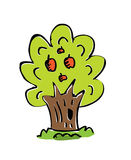 Cartoon drawing tree with color Stock Images