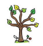 Cartoon drawing tree with color Royalty Free Stock Image
