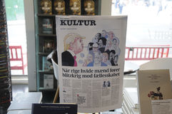CARTOON DRAWING OF USA PRESDIDENT TRUMP. Copenhagen /Denmark - 18.jULY  2017. Cartoon drawing of USA president Donalds Trump  in danish daily in cultre page Stock Images