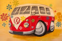 Cartoon drawing of a VW transporter van with flowers all over