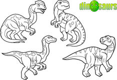 Cartoon drawings of dinosaurs. Royalty Free Stock Photography