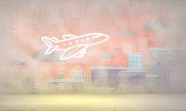 Cartoon drawn airplane . Mixed media Stock Photography